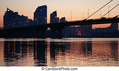 Silhouette of bridge golden sunset