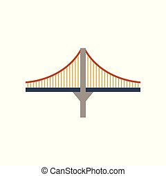 Bridge, suspension, rope icon vector image.Can also be used...