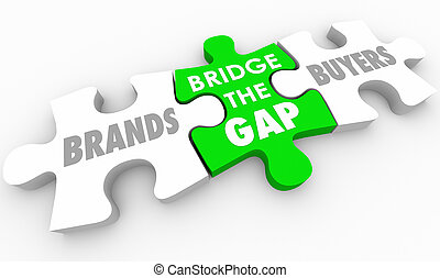 Bridge the Gap Between Buyers and Brands Puzzle 3d Illustration