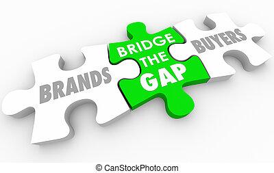 Bridge the Gap Between Buyers and Brands Puzzle 3d Illustration