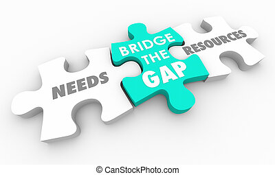 Bridge the Gap Between Needs and Resources Puzzle 3d Render Illustration