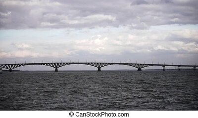 bridge through volga river, saratov, russia