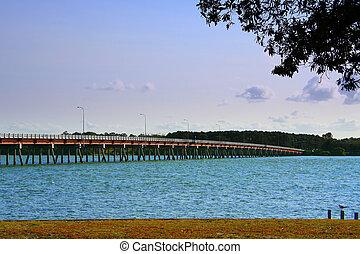 Bridge To Bribie - The famous bridge to Bribie Island on the...