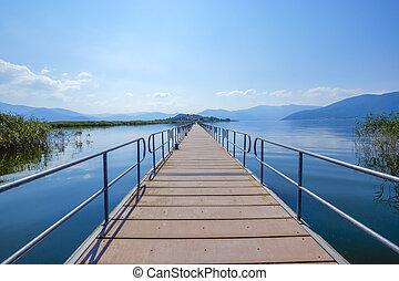 bridge to island agios achillios small lake prespa greece - ...