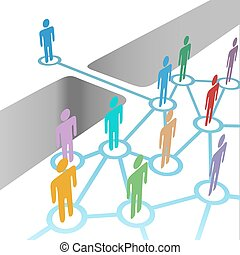 Diverse people bridge a gap to connect and join social media network or merger team