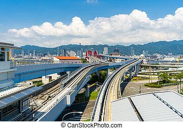Bridge to Kobe Kansai Japan - monorail track and highway red...