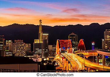 Bridge to Kobe Kansai Japan - Sunset twilight monorail track...