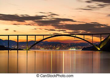 Bridge to Krk Island at sunset, Croatia