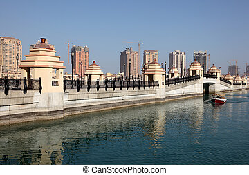 Bridge to the artifical island The Pearl in Doha, Qatar