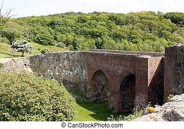 Bridge to the Hammershus - The bridge to the Hammershus on ...