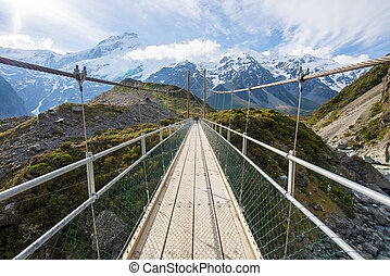 Bridge to the monthain in Mt. Cook National Park, New Zealand