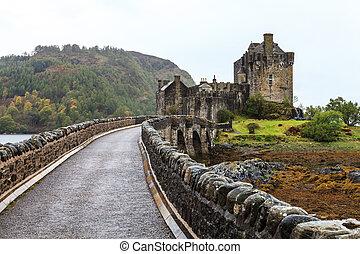 Bridge towards Eilan Donan castle in Scotland