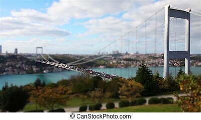 bridge traffic - miniature effect Fatih Sultan Mehmet Bridge...