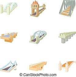 Bridge transition icons set, cartoon style
