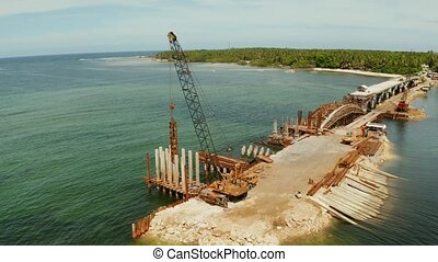 Bridge under construction on the island of Siargao. - Pile...
