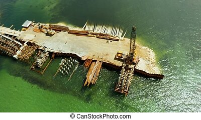 Bridge under construction on the island of Siargao. - The...