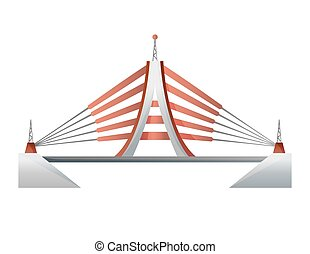 Bridge vector urban crossover architecture. Bridge-construction for transportation illustration. Bridged of river bridge-building with carriageway isolated on white background