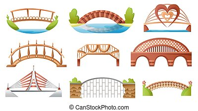 Bridge vector urban crossover architecture. Bridge-construction for transportation illustration. Bridged set of river bridge-building with carriageway isolated on white background