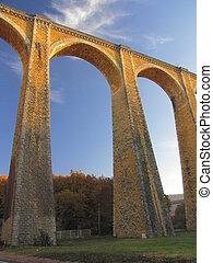 Bridge, viaduct, Souillac, archway, autumn,