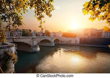 Bridge Vittorio Emanuele II in Rome at autumn sunrise