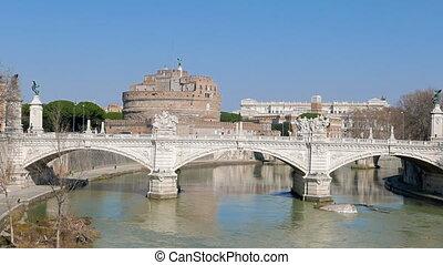Bridge Vittorio Emanuele II. Tiber, Rome, Italy. UltraHD...