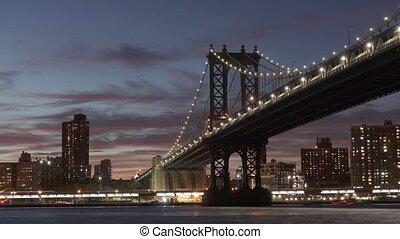 Bridge with City View Night Timelapse