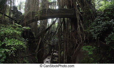 Bridge with figures of dragons in jungle Ubud Monkey Forest...
