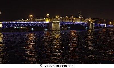 Bridge with illumination over the river at night - Bridge...