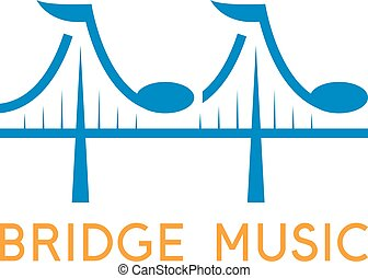 bridge with music notes vector design template