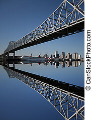 bridge with New Orleans skyline - crescent city connection...
