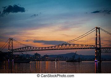 Bridge with Orange Sunset