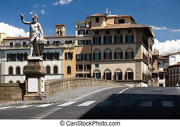 Bridge with sculpture promenade in Florence