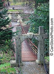 bridge with very interesting gates in park of Sochi, Krasnodar krai, Russia