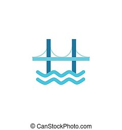 bridge with waves flat style icon