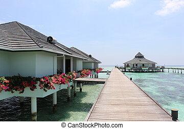 bridged ans water houses. Maldives