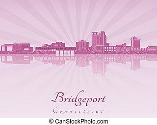 Bridgeport CT skyline in purple radiant orchid - Bridgeport ...