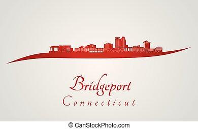 Bridgeport CT skyline in red - Bridgeport skyline in red and...