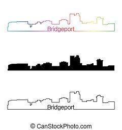 Bridgeport CT skyline linear style with rainbow - Bridgeport...