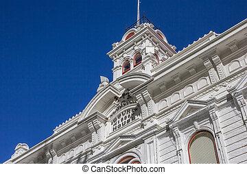bridgeport, geweld, historisch, straat, gerechtshof