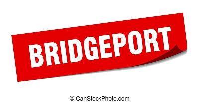 Bridgeport sticker. Bridgeport red square peeler sign