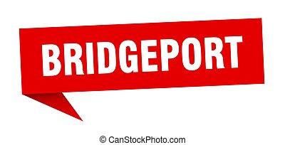 Bridgeport sticker. Red Bridgeport signpost pointer sign