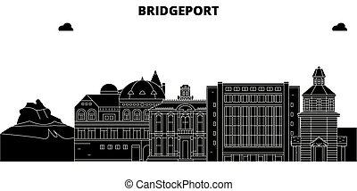 Bridgeport, United States, vector skyline, travel illustration, landmarks, sights.
