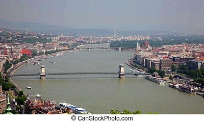 Bridges across Danube river in sunny day, Budapest