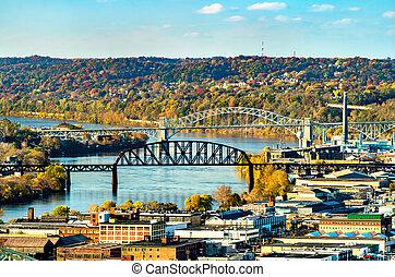Bridges across the Ohio River in Pittsburgh, Pennsylvania