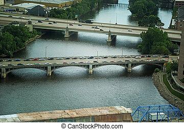 Bridges - An aerial view of the bridges of Grand Rapids