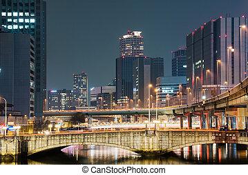 Bridges and buildings at night