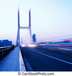 Bridges and light trails - cars light trails on the modern ...