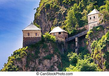Bridges and towers of Hochosterwitz castle in Austria
