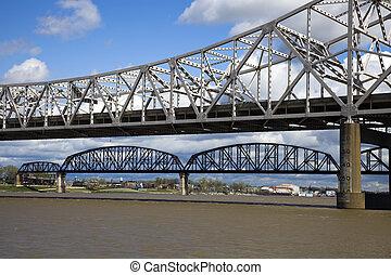Bridges between Kentucky and Indiana. Ohio River.