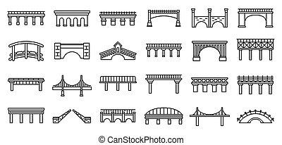Bridges construction icons set, outline style
